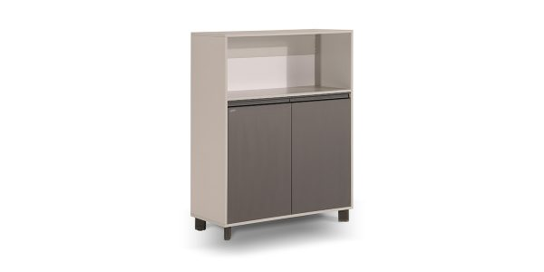 Neka1 binder storage, part of Neka managerial family, offers a suitable storage for placing binder. The legs of the product are made of extruded aluminum and anodized in silver color.