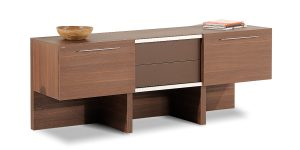 Alborz credenza, part of Alborz executive family, offers drawers to store personal and office supplies and two storage with sliding door mechanism to place binder.