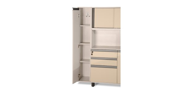 Neka wardrobe, part of Neka family, offers a compartment suitable for clothes. Moreover it meets the need for wardrobe in offices and maintains the order in the workplace. The option of using it as a binder storage is available by placing potable shelves.