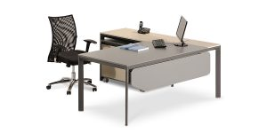 Neka F managerial desk collection offers an L-desk with the option of adding a potable cabinet with a CPU holder as well as file archiving drawers. It is also equipped with a special cable entry cap.
