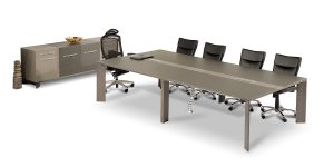 Lavan 10-person conference table offers properties such as a cable passage duct and electric hub including power outlet, network, microphone, USB and VGA socket.