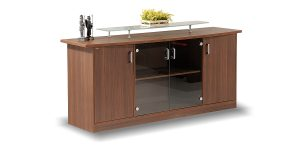 Sadaf credenza offers a cupboard to place binder.
