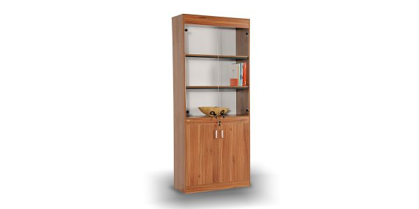 Banafsheh217 bookcase cabinet offers a storage to place binder.