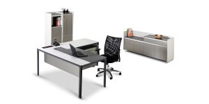 Larak F managerial collection offers an L-shaped desk with option of adding portable filing cabinet with a CPU compartment and file archiving drawers. The desk is also equipped with a particular cable entry cap.