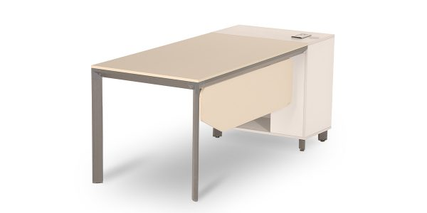 Neka B administrative desk, part of Neka modular administrative collection, offers a compartment for placing CPU with proper ventilation. The product is equipped with an electric hub for electricity, telephone and network.
