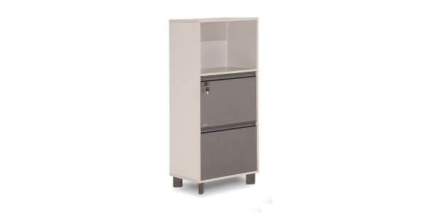 Neka5 two-drawer vertical filing cabinet offers a file hanging drawer with a central lock and a storage for placing binder.