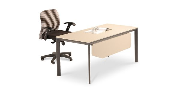 Neka A administrative desk is made of melamine-faced MDF panel with the legs of anodized extruded aluminum. The profile and legs frame components are joined via die-cast connectors; made of Zamak.