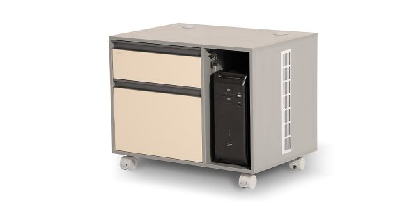 Neka4 mobile filing cabinet offers two file archiving drawers with a central lock. The CPU compartment is equipped with an air ventilation cover in order to adjust the compartment temperature.