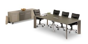 Lavan 6 to 8-person conference table is equipped with an electric hub including power outlet, network, microphone, USB and VGA socket.