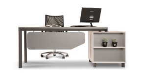 Neka E administrative desk offers two soft-closing drawers with file archiving ability and aluminum handles with a central lock. In addition, it is equipped with CPU compartment and an air ventilation cover. Neka E administrative desk benefits from a desk top with 16 mm thickness and a decorative compartment at the exterior view of the product.