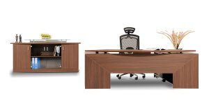 Sadaf executive desk offers a drawer to place personal and office supplies as well as a file archiving drawer. The option of adding a file cabinet under the L-shaped desk is available. The product is equipped with a cable entry cap.