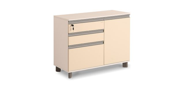 Neka three-drawer filing cabinet, part of Neka family, offers three drawers with file archiving ability and a storage for placing binder in different dimensions. It is also equipped with a central lock.