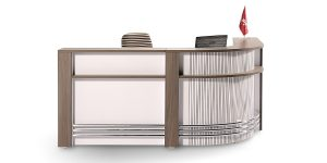 Sarv2 counter is produced in different lengths. It offers a customer reception desk with a cable entry cap and the option of adding a portable under-desk cabinet.