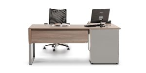 Baran managerial desk offers features such as a lockable drawer for storing personal items, a file archiving drawer, plus a discreet front storage cabinet with adjustable shelves, and a cable entry cap. In addition, it provides the ability to install a removable CPU holder.