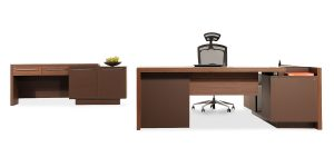 Alvand executive desk, part of Alvand executive family, offers features such as a file archiving drawer and the option of adding a safe box in one of the drawers as well as installing a trash can.
