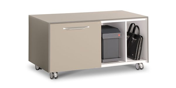 Lavan filing cabinet, a supplement to Lavan Alpha desk, offers compartment for CPU or bag and three soft closing drawers. In addition, it offers the option of converting one of the drawer into a safety box and adding also a sliding trash bin in the product.