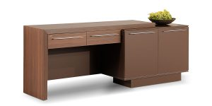 Alvand credenza, part of Alvand executive family, offers a soft-closing drawer and a cupboard to place personal items, plus an ability to place binder in the cupboard.