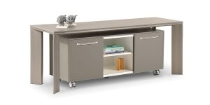 Lavan console cabinet benefits from sliding door with soft close mechanism and storage to place binder. This product can be offered separately or along with Lavan console.