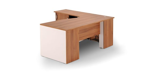 Darya managerial desk offers a three-drawer filing cabinet with file hanging ability and a sliding door cupboard to place binders.