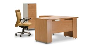 Banafsheh administrative desk is equipped with a cable entry cap. This product can be also produced with L-shaped form.