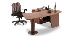 Moj managerial desk offers a drawer to place personal items as well as a cable entry cap.