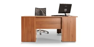 Nastaran managerial desk offers three drawers with file hanging and binder placing ability.