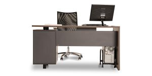 Rose administrative desk offers a small drawer for personal items and the available option of placing binder.