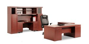 Senator executive desk offers a filing cabinet with two lockable drawers including a stationery drawer plus a binder archiving drawer.