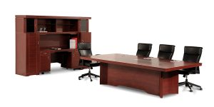 Senator conference table is equipped with an electric hub with features including electrical outlet, network, charging, microphone and VGA socket.
