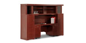Senator credenza offers features such as file storing drawers, a file hanging cupboard and proper lighting. The product can also be ordered as separate components if desired.