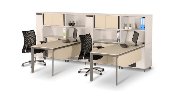 Neka workstation, part of Neka family, is equipped with a special cable entry cap and under-desk CPU holder. Plus, it offers a two-drawer file cabinet with proper space for storing supplies.