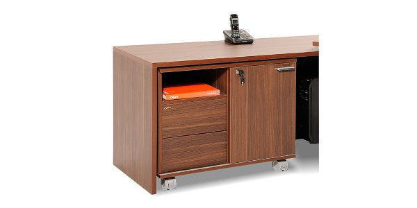Sadaf filing cabinet offers a drawer to place personal and office items as well as a file storing drawer. The option of adding it under the L-shaped desk is available. It is also equipped with a cable entry cap.