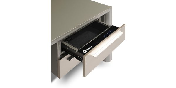 A hidden safe box with touch-sliding mechanism which is accessible by entering the code.